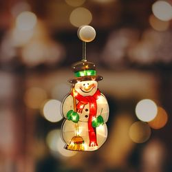 크리스마스 조명 눈사람 소형 인테리어 유리창 부착