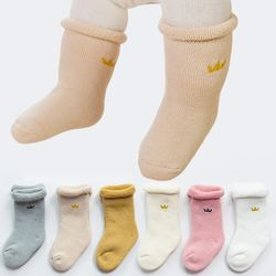 도톰 왕관 긴 아기유아양말 3종1세트(S-L) 410035