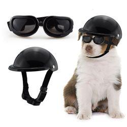 소형 중형 대형 강아지 모자 고양이 헬멧 고글 세트