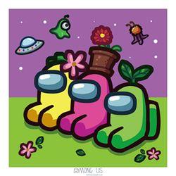 어몽어스 그림그리기 세트 꽃 페인팅 25X25