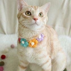 개달당 꽃송이 뜨개 초커 고양이목걸이 강아지꽃목걸이