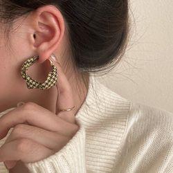 캐오핀 체크무늬 패션 캐주얼 귀걸이