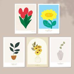 감성 플라워 식물 일러스트 엽서 5P세트