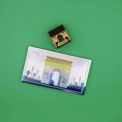 우드썸-개선문 랜드마크 원목 입체퍼즐 포스트카드