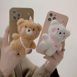 아이폰 12 11 pro max 곰돌이 뽀글이 키링 털케이스