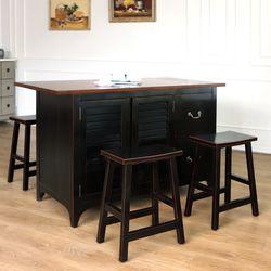 와이드 갤러리 아일랜드식탁 4인용 홈바테이블 블랙