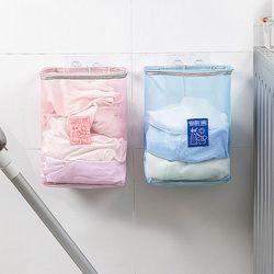 벽 부착 벽걸이 매쉬 세탁 빨래 바구니