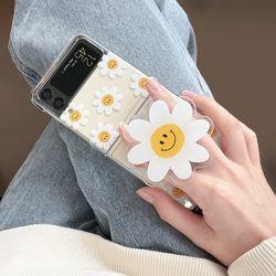 클리어하드-Z플립3 스마일 꽃 패턴 아크릴톡 2종세트