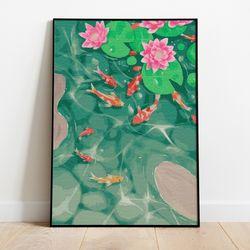 명화그리기 연못의 잉어 캔버스페인팅 DIY 유화그림 직장인취미