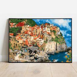 명화그리기 절벽 위의 마을 캔버스페인팅 DIY 유화그림