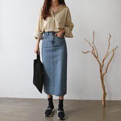 Medium Denim Long Skirt