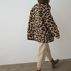 M Leopard Teddy Bear Jumper - 누빔안감