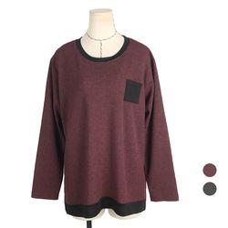 [네오쿠비카]빅사이즈 포켓 배색 긴팔티셔츠 BLK353