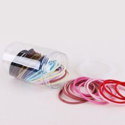 대용량 무매듭 고무줄 머리끈 헤어끈 세트 3.0mm+원통케이스L