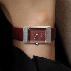명품 30대여성시계 바우스 럼튼 그리드 버건디실버