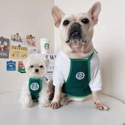 고양이 강아지 냥타벅스 종업원 앞치마 티셔츠 코스튬