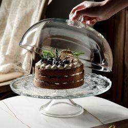 온나 대형 유리돔 케익 디저트 트레이