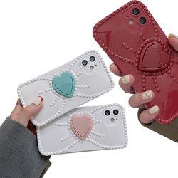 아이폰 12 11 XR SE2 리본 하트 스마트링 폰케이스