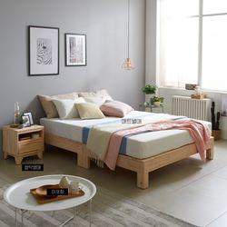 [수도권무배] 제네티 편백통원목 평상형 Q 침대프레임 DB