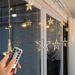 크리스마스 윈도우 데코라이트 리모컨전구 큰별작은별