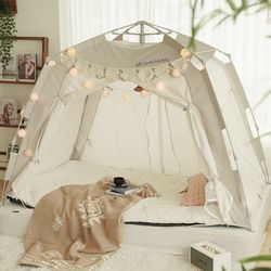 난방 침대 실내 방한 보온 원터치 사각 수면 텐트