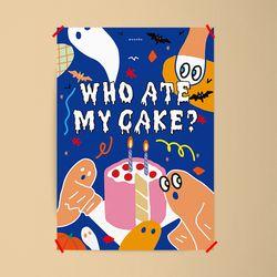할로윈 케이크  M 유니크 디자인 포스터 디저트 카페 A1(특대형)
