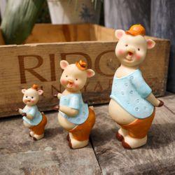 블루 모자 앙증 돼지 3p 카페 개업 선물 장식소품