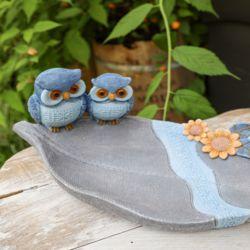 블루 부엉이 나뭇잎 트레이 카페 개업 선물 장식소품