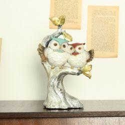 명품 컬러 세로 나무위 커플 부엉이 0203 장식용품