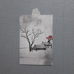 여백 일러스트 엽서 한국적인 카드