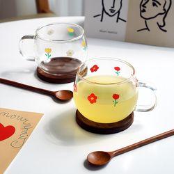작은꽃머그 2인조 내열유리컵 선물세트(컵2+받침2+스푼2+엽서)