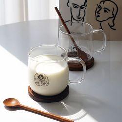 순이돌이머그 2인조 내열유리컵 선물세트(컵2+받침2+스푼2+엽서)