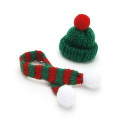 [인디케이]크리스마스 미니 모자 목도리 데코 set
