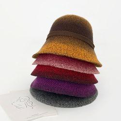 여성 겨울 리본 플로피햇 모자