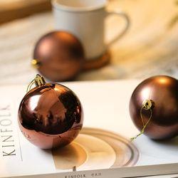 크리스마스믹스볼8cm (4개세트) - 커피딥브라운