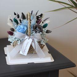 시들지않는 프리저브드 블루장미 꽃바구니 선물