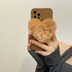 아이폰 13 12 11 pro max xs 8 하트 털 그립톡 케이스