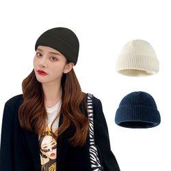 남녀공용 니트 골지 숏비니 겨울 방한 커플 모자