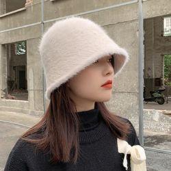 앙고라 울 라운드 버킷햇 벙거지 겨울모자 방한모자