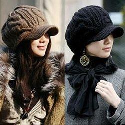 블크 여성 겨울 니트짜임 챙모자 겨울모자