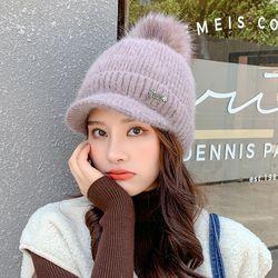 히르팡 여성 겨울 니트 방울 캡 니트모자