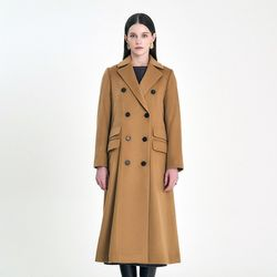 DOUBLE BREASTED WOOL LONG COAT - CAMEL (ITEM0RTK34H)