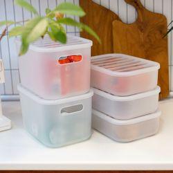 국내생산 반투명 냉장고 수납정리함 S (뚜껑형) 4P