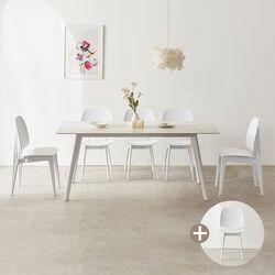 마리메종 플로 세라믹 식탁 6인 의자6개세트 원목다리