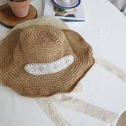 레이스 밀짚 모자 피크닉 보넷 버킷햇 여성 라피아햇