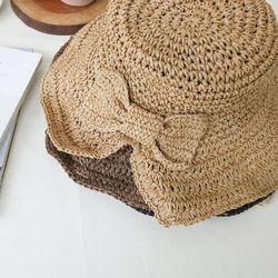 리본 밀짚 모자 버킷햇 왕골 플로피햇 4color