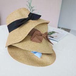 컬러 리본 밀짚 모자 봄 여름 가을 바캉스 모자3color