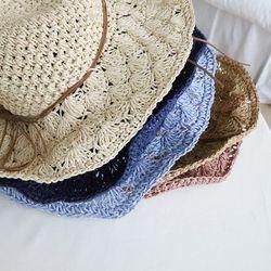 리본 끈 밀짚 모자 5color 접이식 수납 가능 예쁜모자
