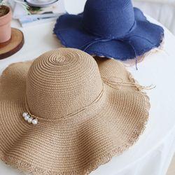 진주 리본 끈 밀짚 모자 4color 봄 여름 가을 나들이