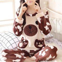 얼룩이 여성겨울 수면잠옷 극세사 수면 바지 잠옷세트